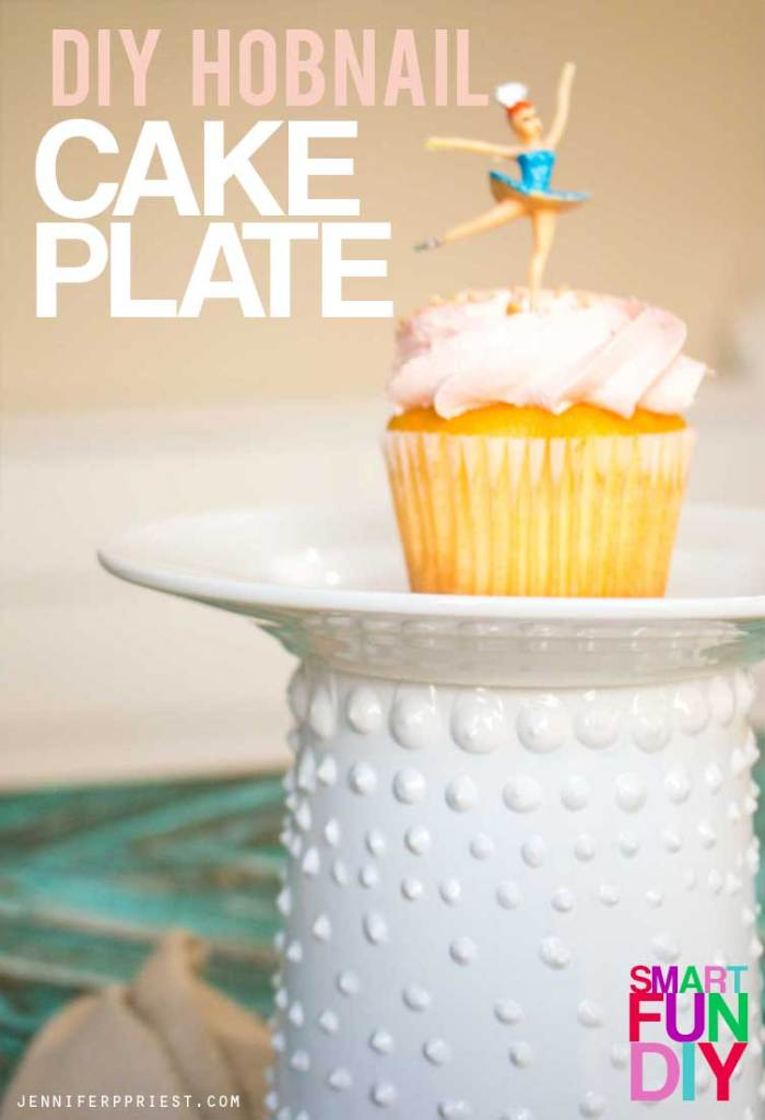 Easy and fast DIY faux hobnail glass cake plate with a yogurt tub! Easy yogurt tub craft idea using a Mountain High Yoghurt tub. Great for wedding or party decor when you need A LOT of cake plates but don't want to spend the money.