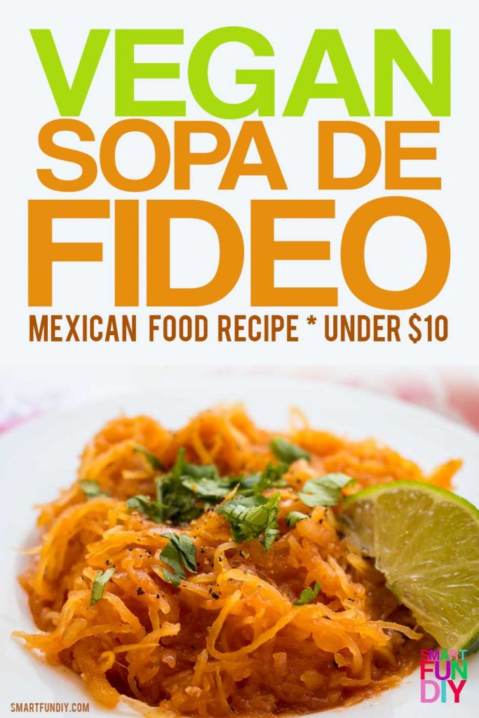 VEGAN sopa de fideo recipe - healthier version of the traditional Mexican food dish using spaghetti squash instead of pasta. Get all the ingredients at 99 Cents Only Stores for under $10, including produce. #doingthe99 #99YourMothersDay