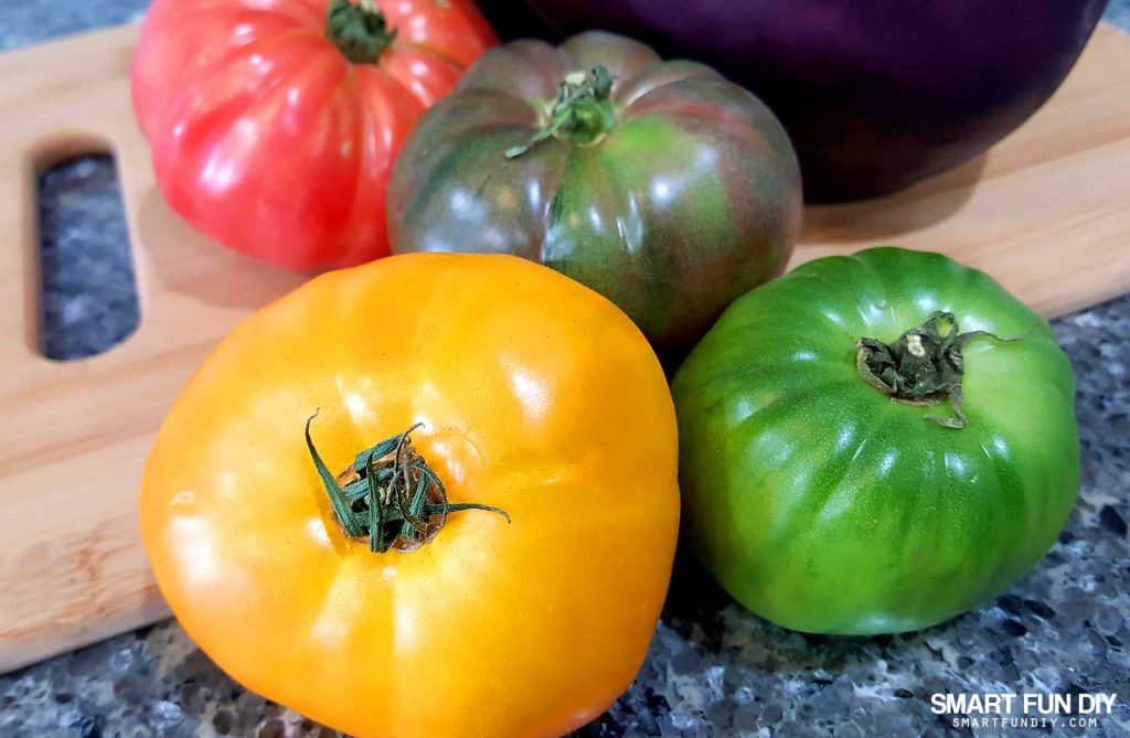 Yummy Heirloom Tomatoes! https://www.smartfundiy.com/mothers-day-lunch-grilled-eggplant/ #SoWorthIt