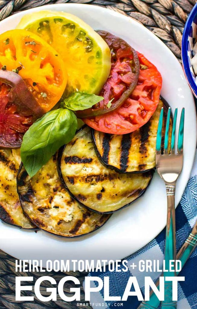 Throw a Mother's Day Brunch to remember with this Grilled Eggplant and Heirloom Tomato Salad Recipe and Grape Tomato Caprese Salad. DELISH! with @JCPenney #SoWorthIt [AD]