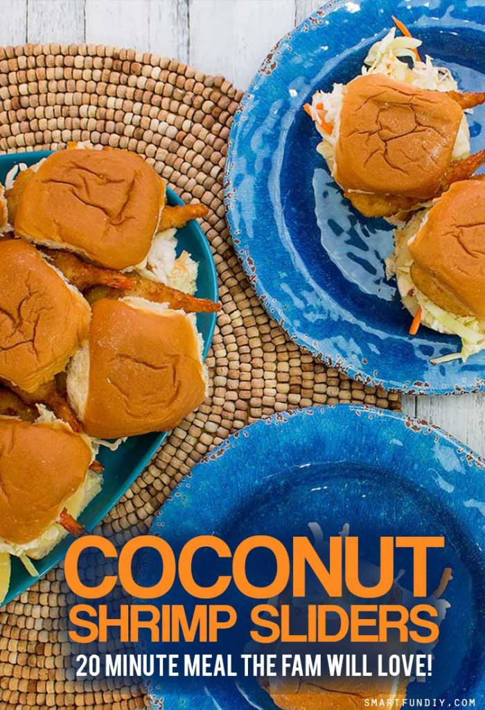 EASY Coconut Shrimp Sliders - A delish SUMMER dinner in 20 minutes that the whole family will love! It starts with @SeaPak Butterfly Shrimp ... click for the full recipe + printable recipe card! https://www.smartfundiy.com/coconut-shrimp-sliders-recipe/