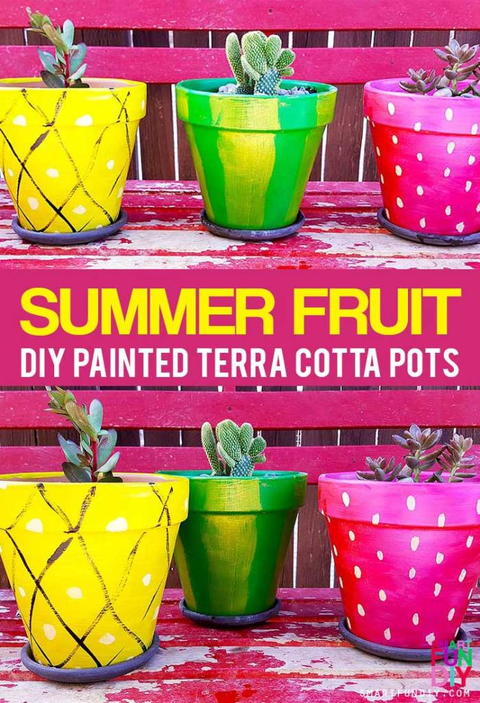 DIY terra cotta pots - paint SUMMER fruit designs on dollar store pots! Use acrylic paint to make a pineapple, strawberry, and watermelon using PLAID FolkArt Color Shift paint. VIDEO tutorial -- https://www.smartfundiy.com/painted-diy-terra-cotta-pots/