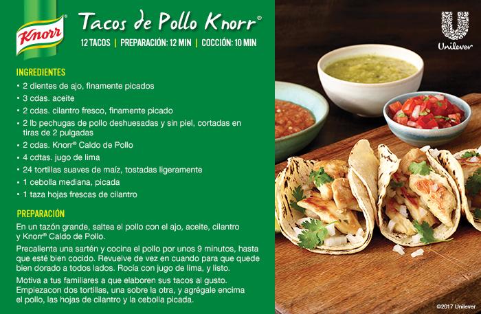 chicken street tacos recipe card in Spanish