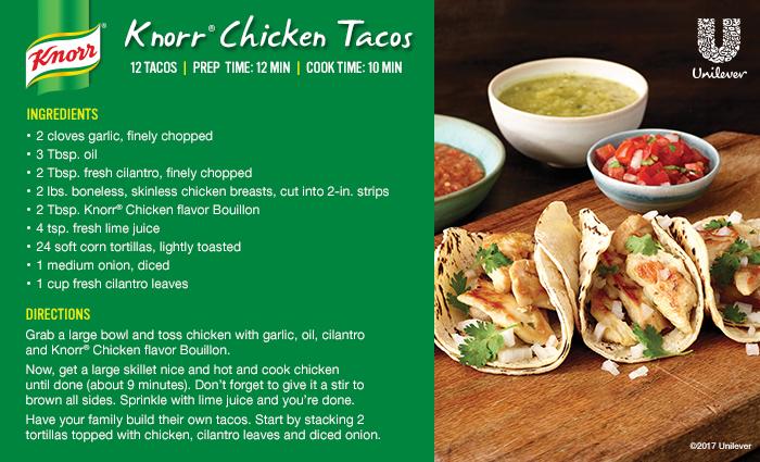 chicken street tacos recipe card in English