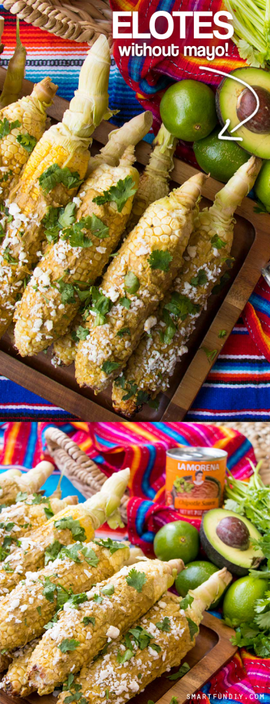 Homemade MEXICAN STREET CORN recipe with NO mayonnaise. https://www.smartfundiy.com/grilled-avocado-chipotle-elotes-recipe/ ... with a delicious spicy kick from LA MORENA® Chipotle Sauce from Northgate Market. No MAYO homemade elotes recipe!! #smartfundiy #nomayo #elote #elotes #mexicanstreetcorn #mexicanfood #VivaLaMorena [AD]