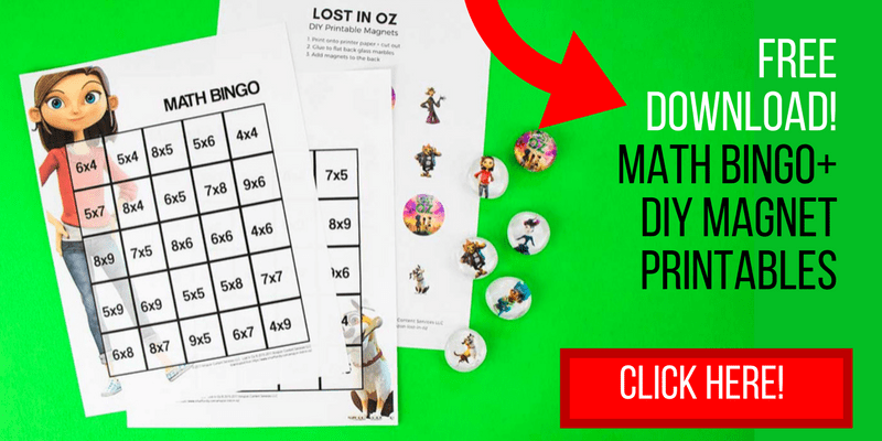 Click here to grab the free printable multiplication bingo cards and the Lost in Oz magnet printable