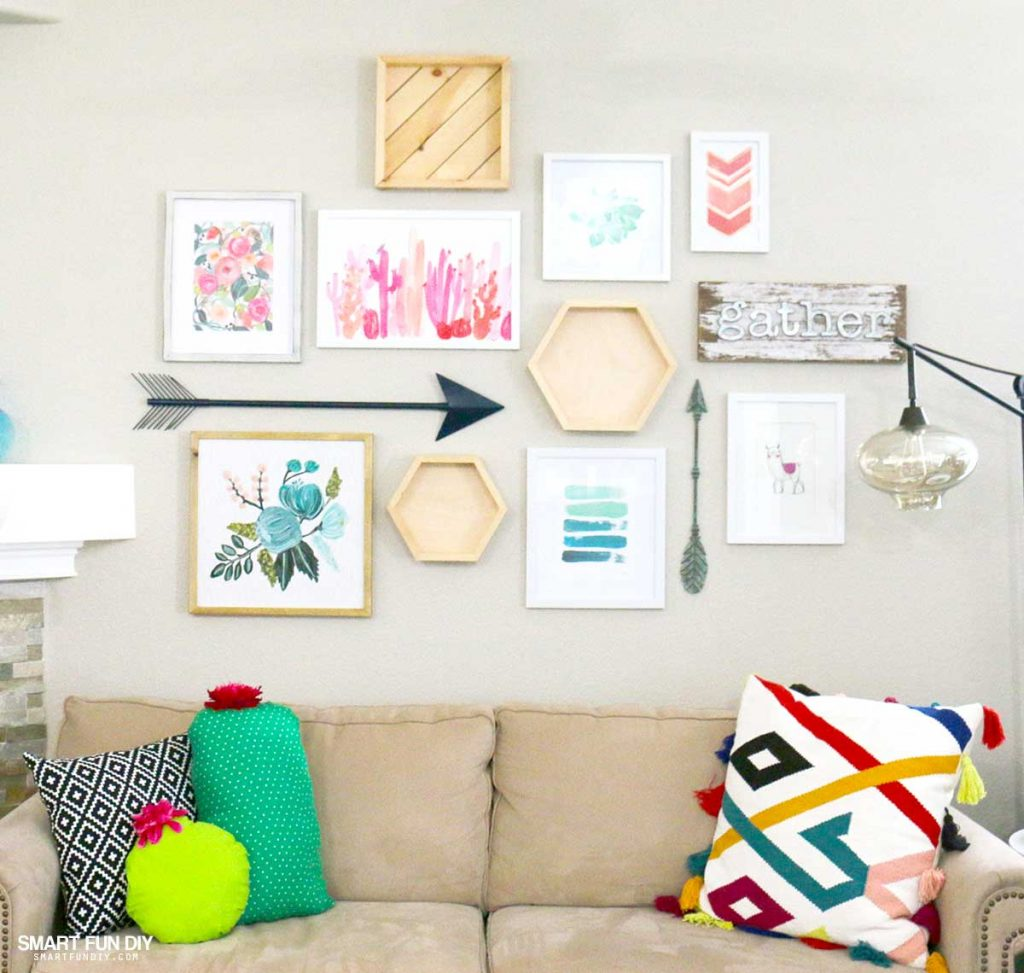 southwest inspired gallery wall with frames above a couch