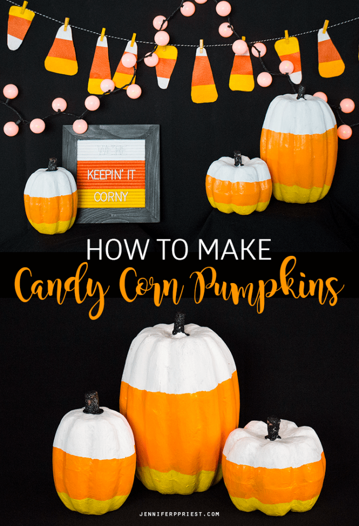 CUTEST Candy Corn Pumpkins ever! Get this plus 10+ more ideas for decorating a kid-friendly Halloween party, plus kid party food ideas!