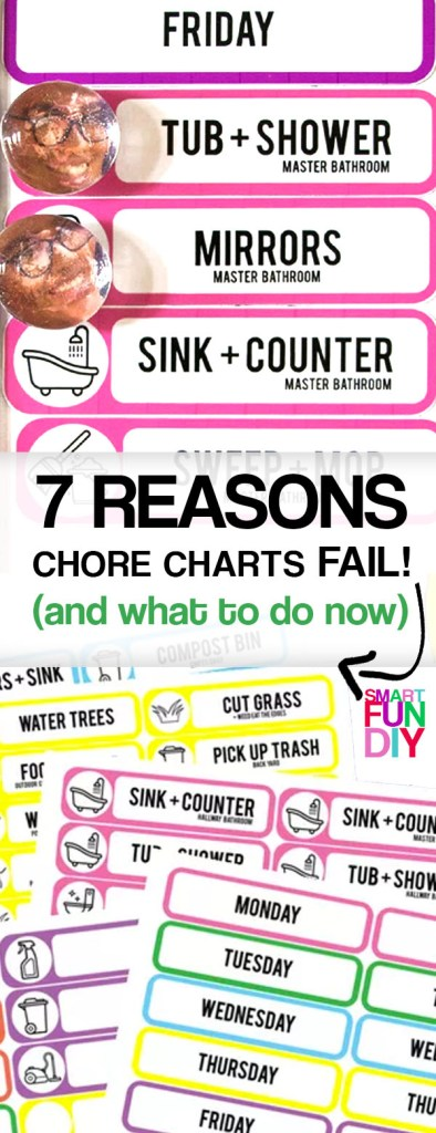 Free chore chart printable - easy to use design for young kids and teens, easy to update with new chores, PLUS tips on how to get your kids to ACTUALLY DO their chores