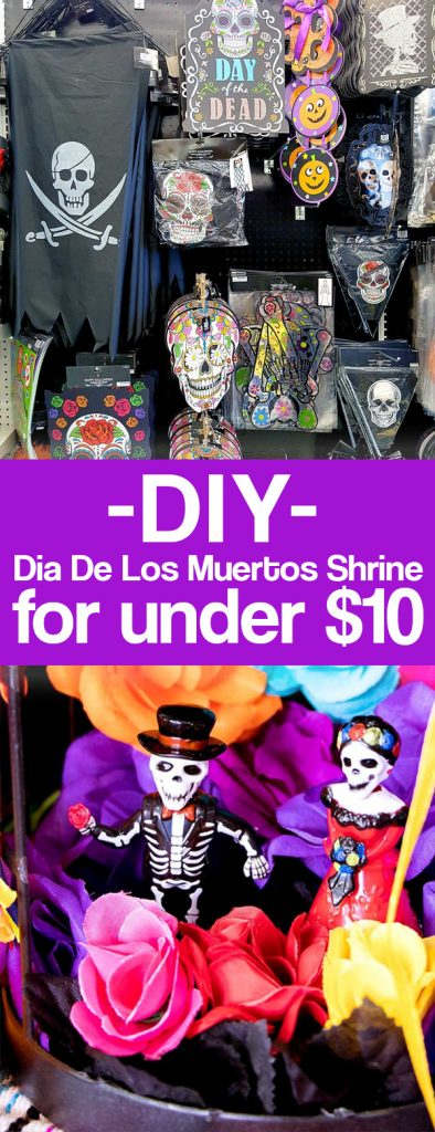 How to make a day of he dead altar or OFRENDAS. What is dia de los muertos all about? This post explains plus has a tutorial for making day of the dead shrines with supplies from 99 Cents Only Stores.