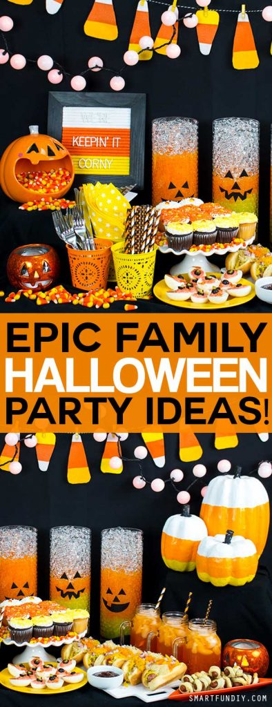 How to throw a Halloween party both kids and adults will love. Kid party food ideas. candy corn themed party. and more!