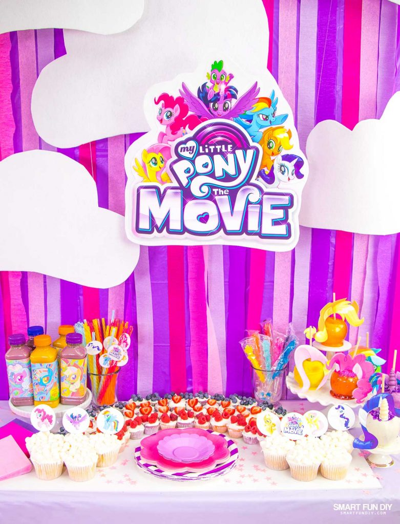 My Little Pony Party backdrop and food table