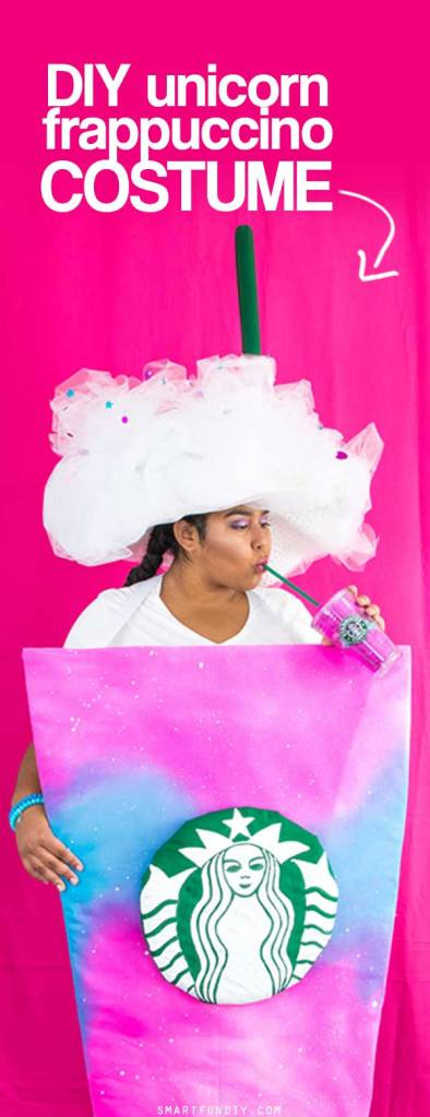 The best looking DIY Unicorn Frappuccino Costume - the easiest to make + wear Frappuccino costume ever! Make this in ANY size, even plus size or for kids!