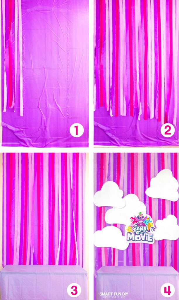 steps to make a crepe paper party backdrop