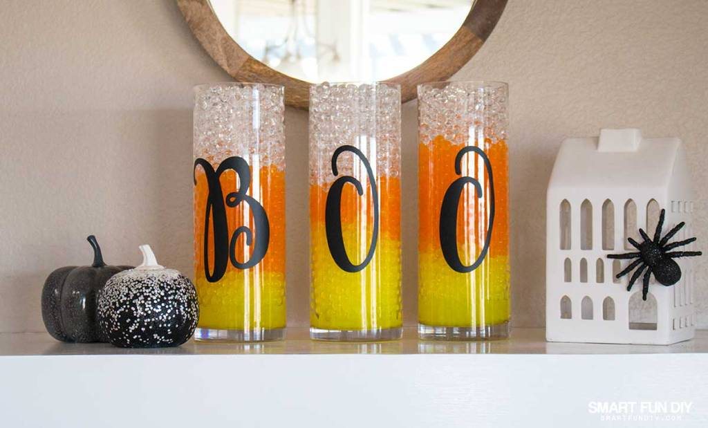 Halloween Mantle Decor - looks so good with GEMNIQUE Water Beads. See how to make this display for under $15!