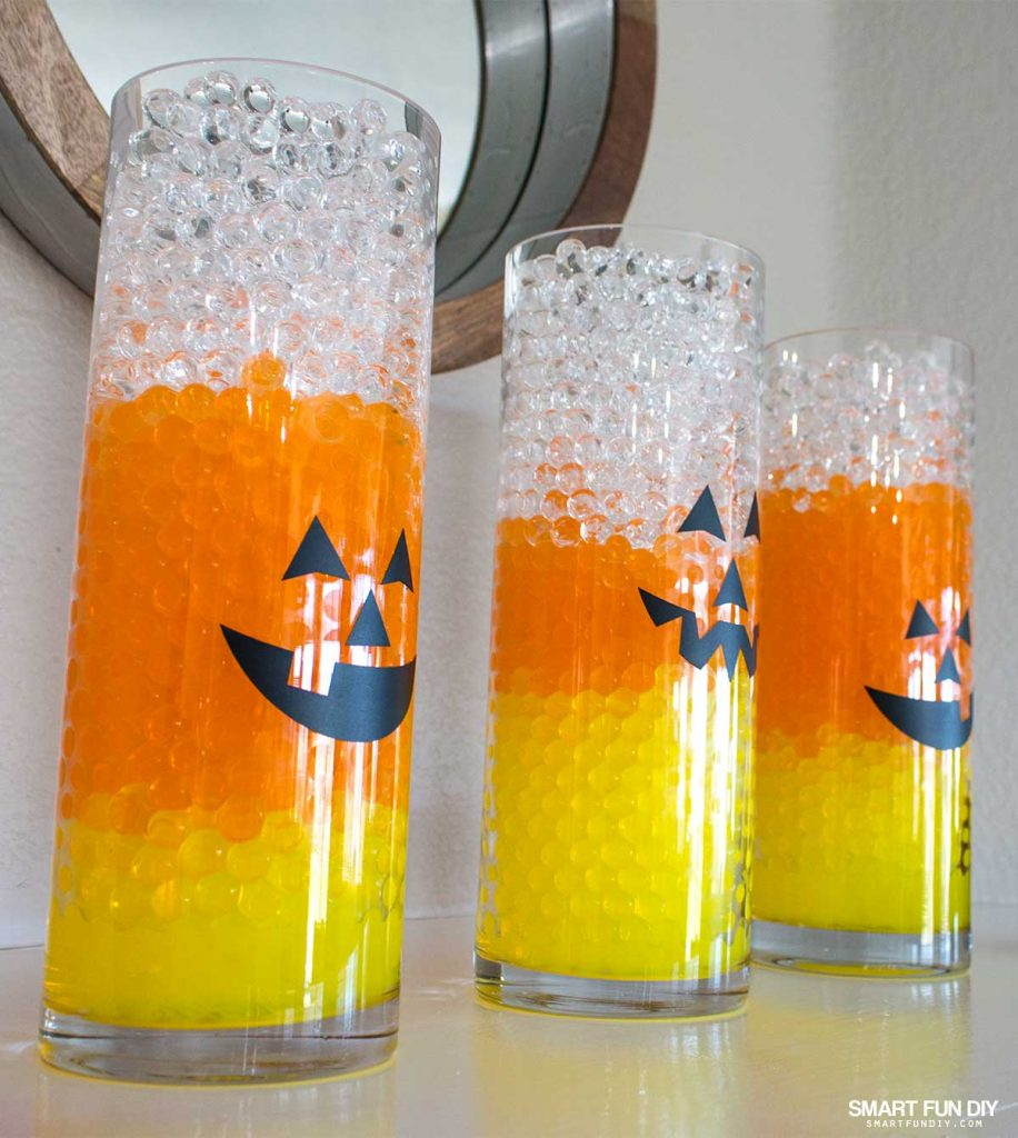 Halloween Decor is easy with GEMNIQUE Water Beads. Make this candy corn vase display for under $15!