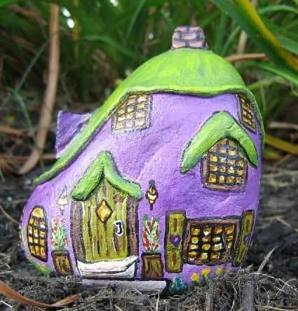 painted rock fairy garden