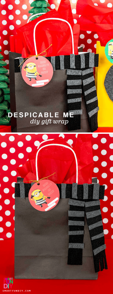 AD: Cute DIY gift wrap ideas for LESS ... inspired by Despicable Me! Make these 3 DIY Christmas Gift Wrap Ideas inspired by Gru, Dru, and Stu from Despicable me 3. Get the Despicable Me 3 Special Edition is available on Blu-ray & DVD December 5 with exclusives from Target. #SmartFunDIY #DespicableMe3 #DM3family #ChristmasGiftWrap #GiftWrapIdeas #Minions #DIYGiftWrap https://www.smartfundiy.com/despicable-me-gift-wrap-ideas/