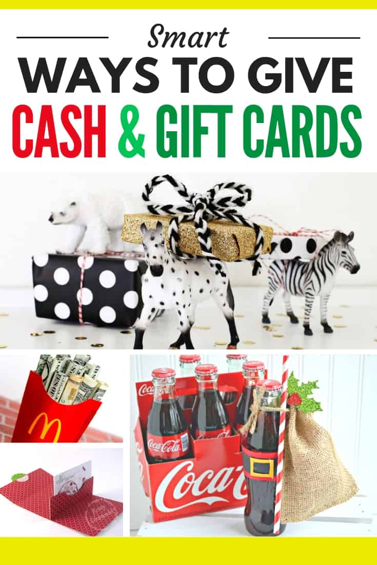 collage of creative ways to give cash and gift cards