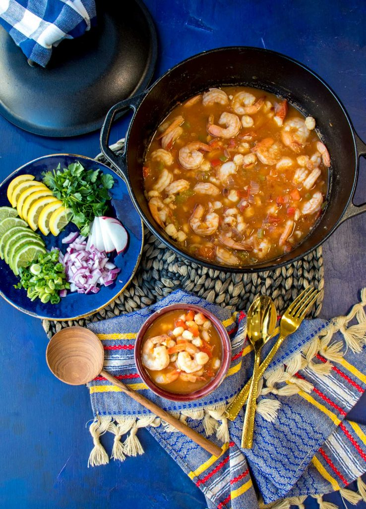 Shrimp Pozole in a pot and bowl