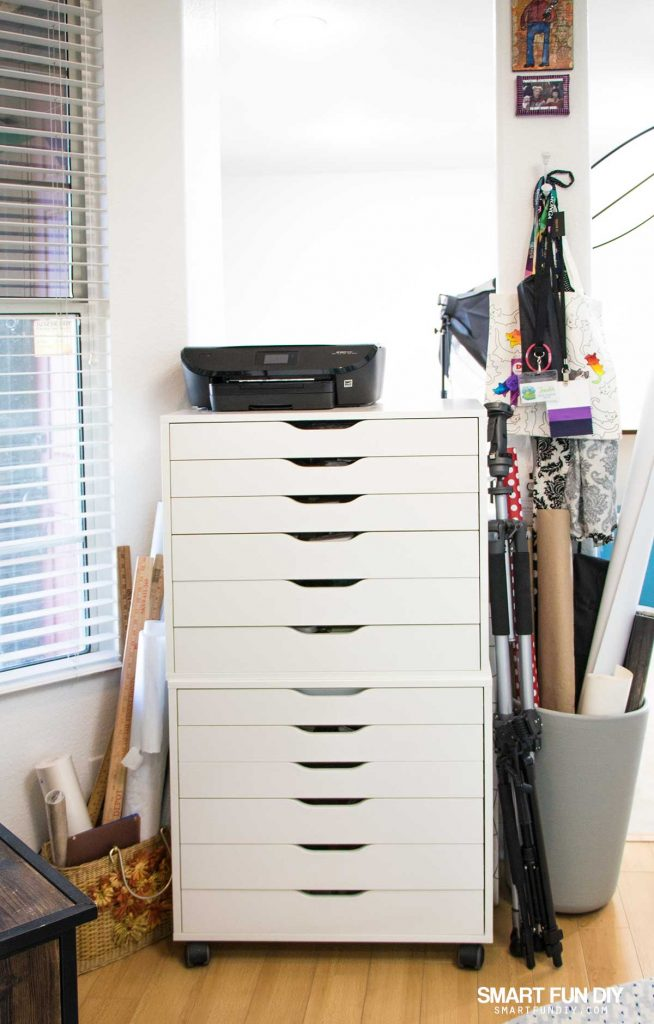 Stacked IKEA Alex units in craft room with printer on top