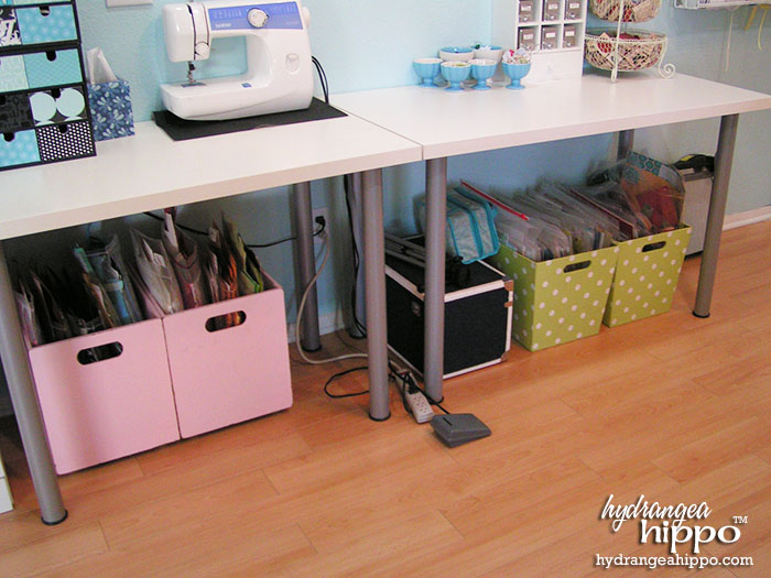 storage bins under craft table