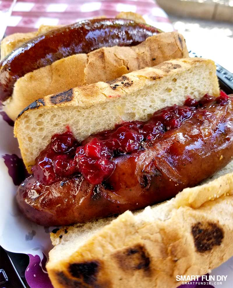 Boysenberry sausages on rolls with boysenberry relish