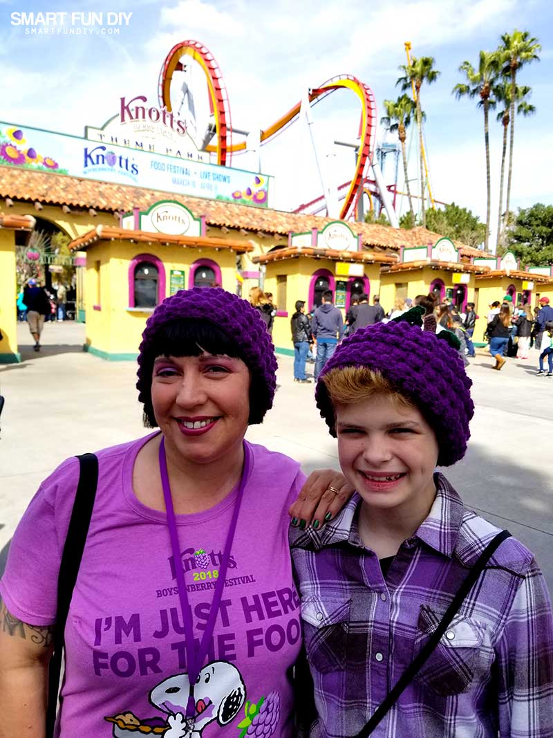 Mom and child wearing crochet Boysenberry Hats at Knott's Berry Farm