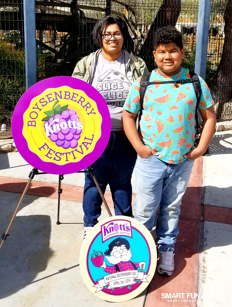 Kids with Sign at Knott's Berry Farm Boysenberry Festival