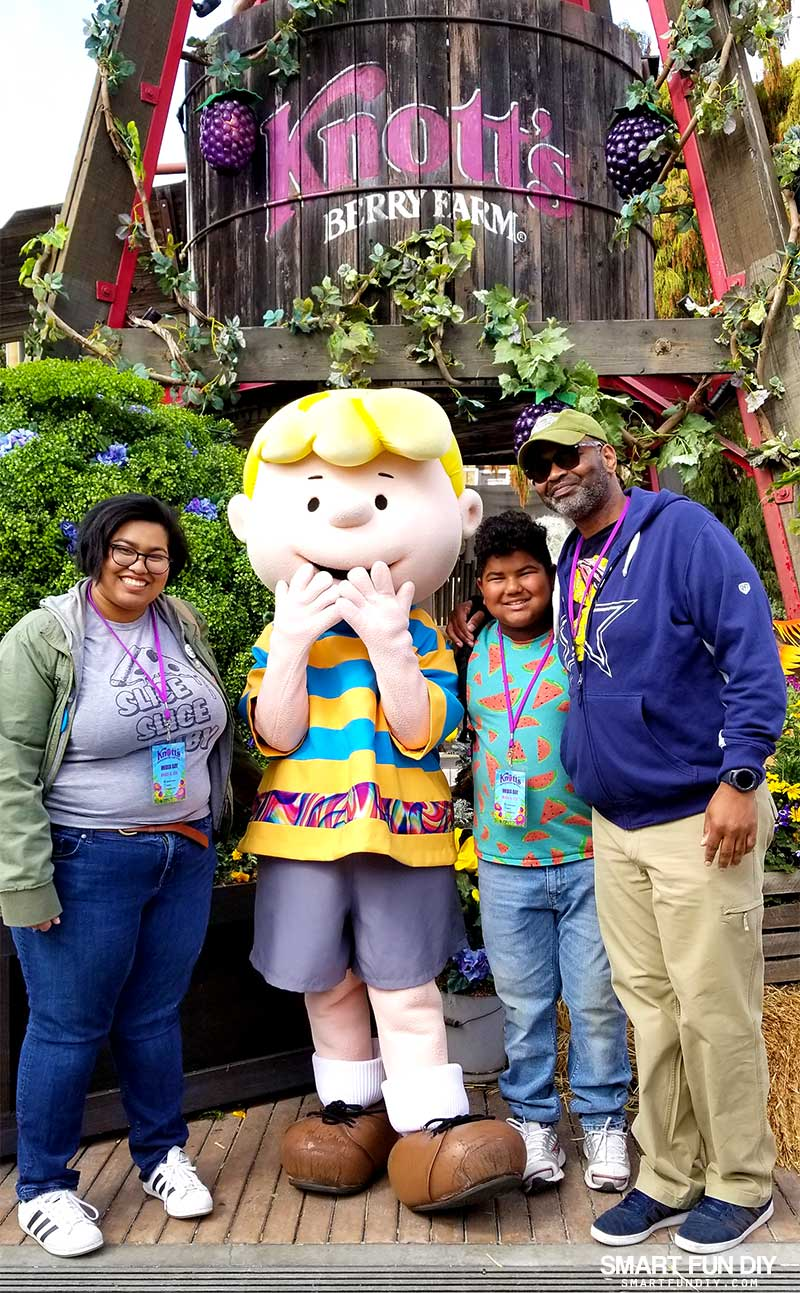Family photo with Schroeder at Knott's Berry Farm