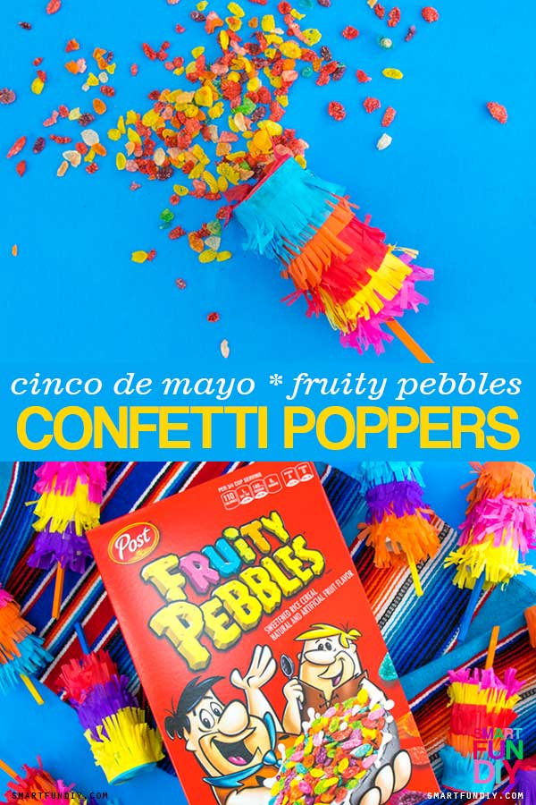 DIY Confetti poppers filled with Fruity pebbles cereal