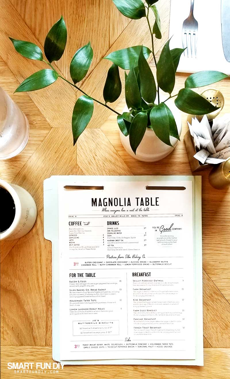 Magnolia Table restaurant menu