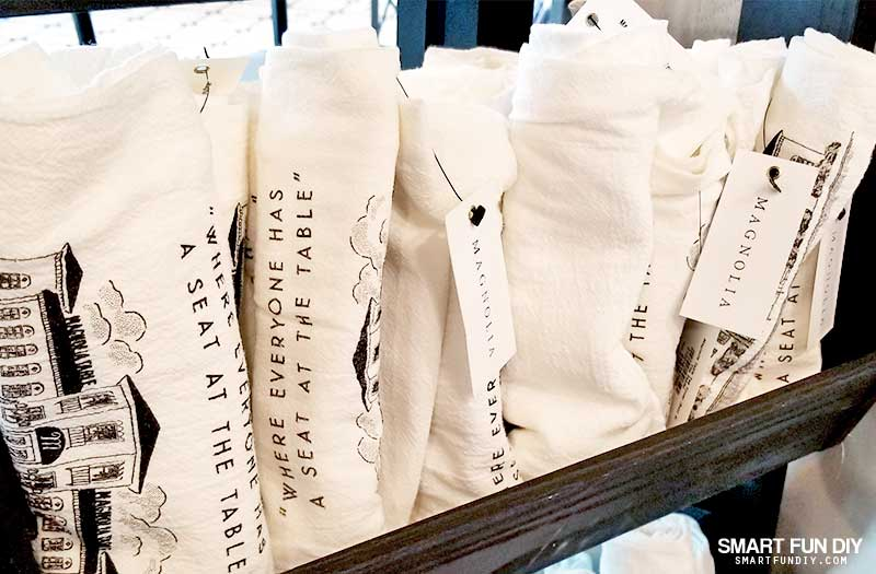 Magnolia Farms tea towel display in Take Away Market at Magnolia Table restaurant