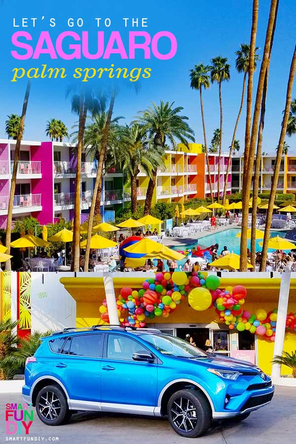Saguaro Hotel in Palm Springs pool area and Toyota RAV4