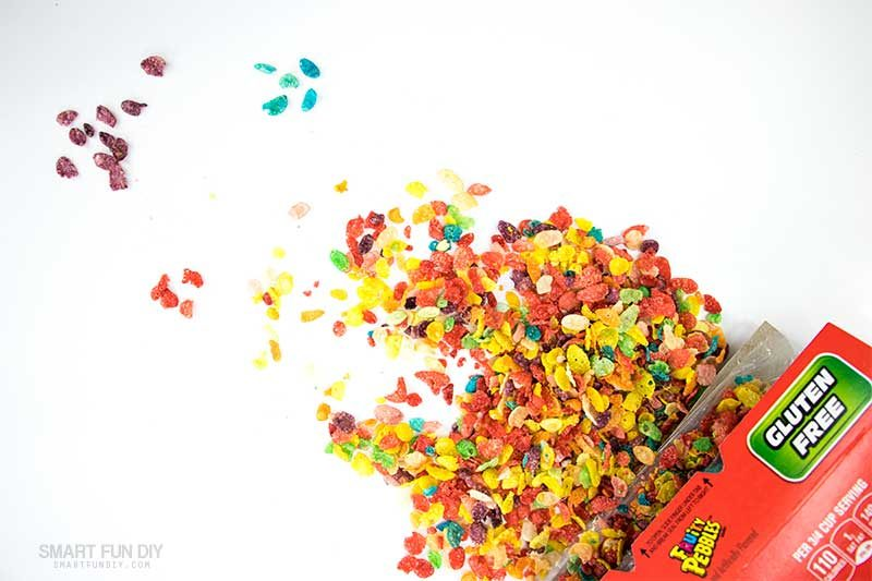 sort fruity pebbles cereal into piles by color