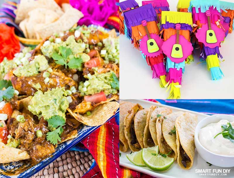 Cinco De Mayo party food and decor ideas - mole nachos, mini tacos, and pinata party favor boxes