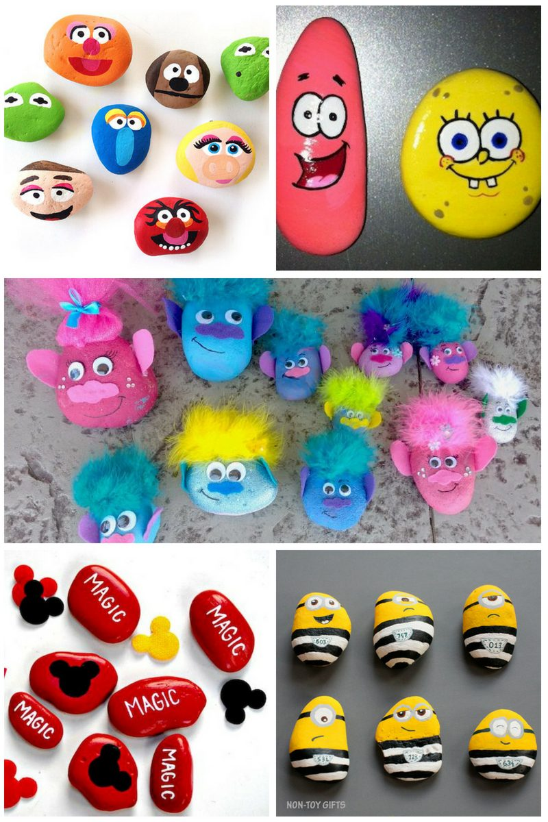 rock painting ideas for kids - cartoon characters