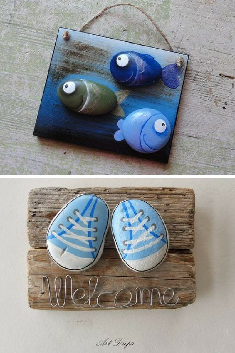 kids room decor painted rock wall art ideas