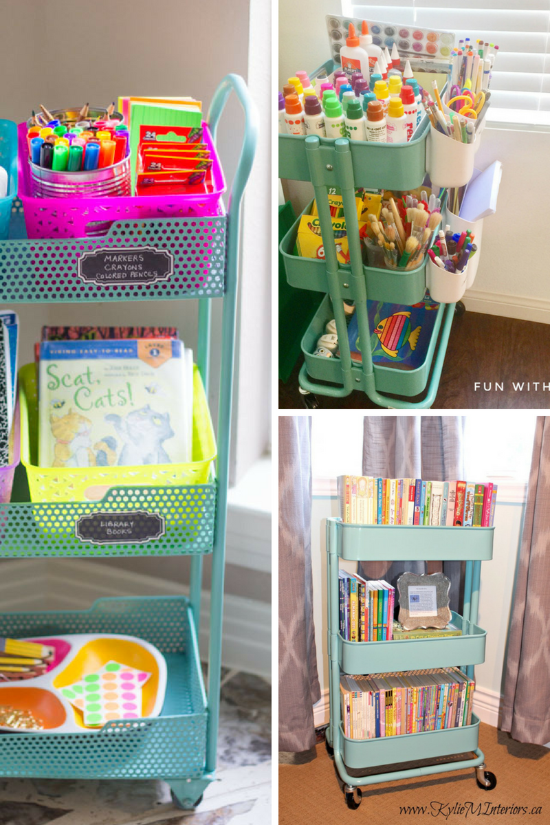 Ikea Raskog cart for kids crafts supplies and home school organizing