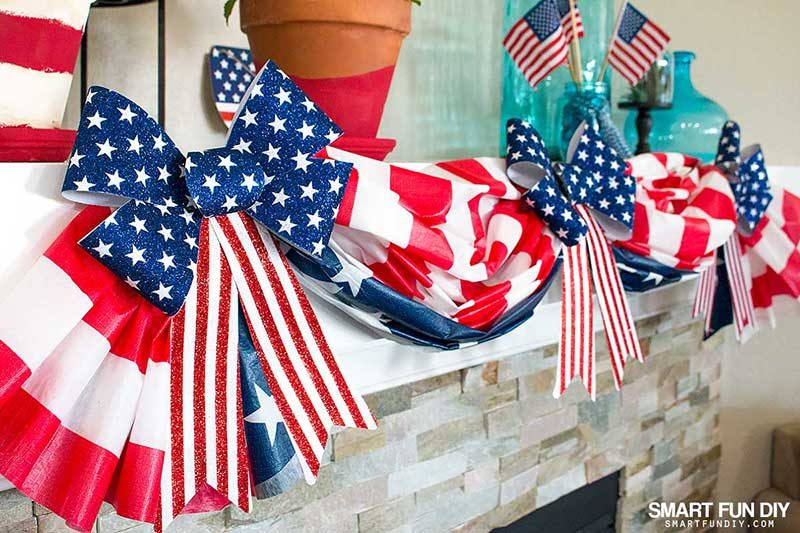 DIY flag bunting on fireplace mantel