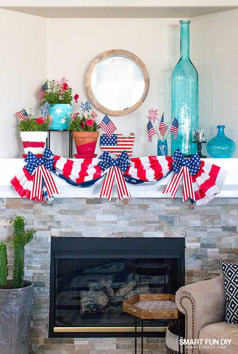Patriotic decorations on modern stone fireplace mantel