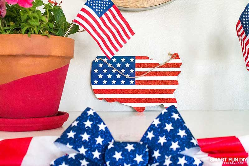 USA map wood sign with US flag printed on it from 99 Cents Only Stores