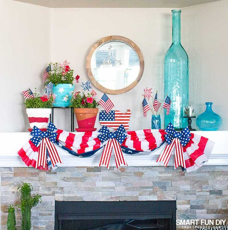 Patriotic decorations on fireplace mantel
