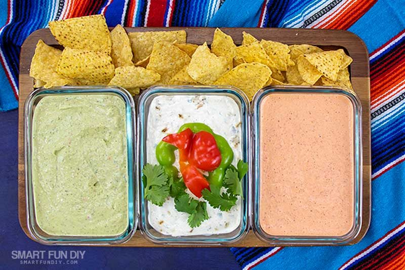 Platter of 3 Mexican Dip Recipes and Tortilla Chips