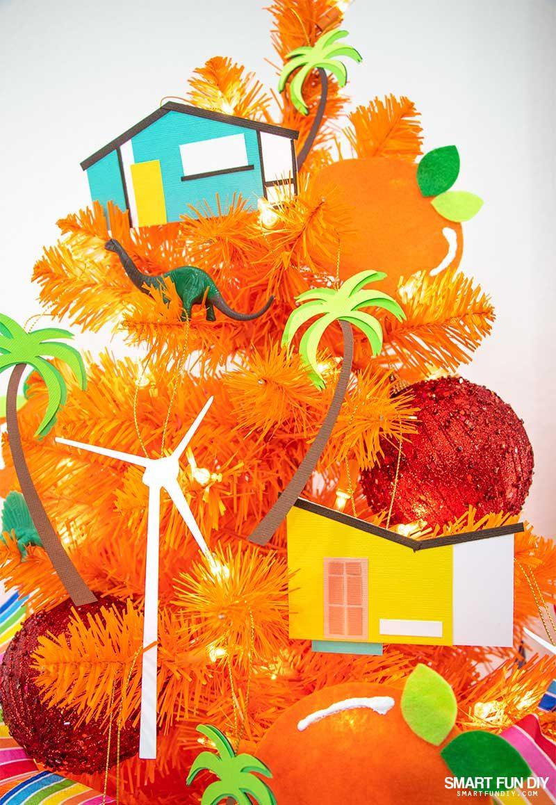 palm springs christmas ornaments on orange tree
