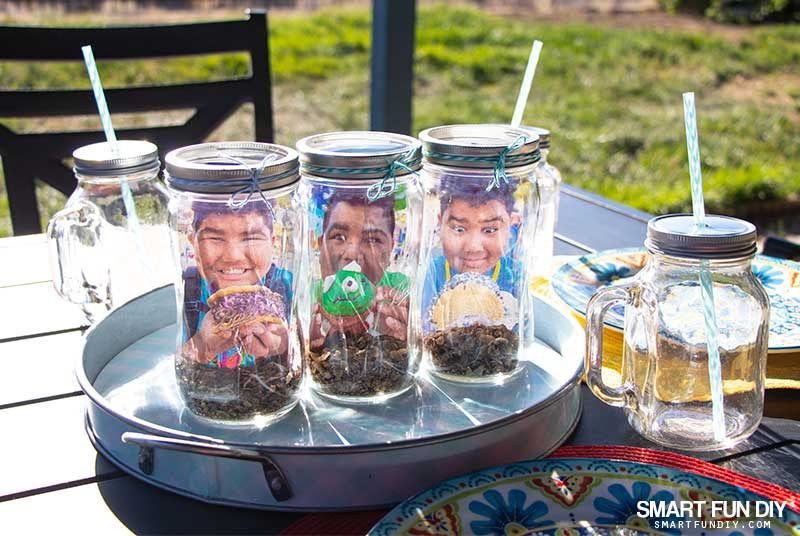mason jar photo holder - scented party centerpiece