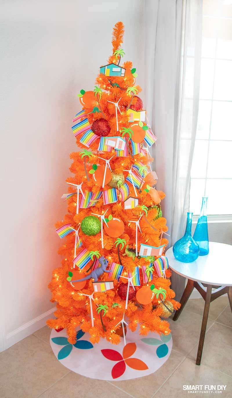decorated orange christmas tree