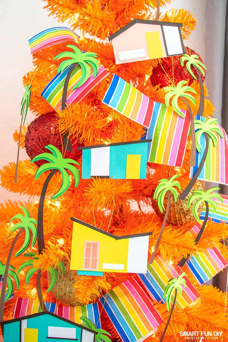 mid century modern house ornaments made from paper