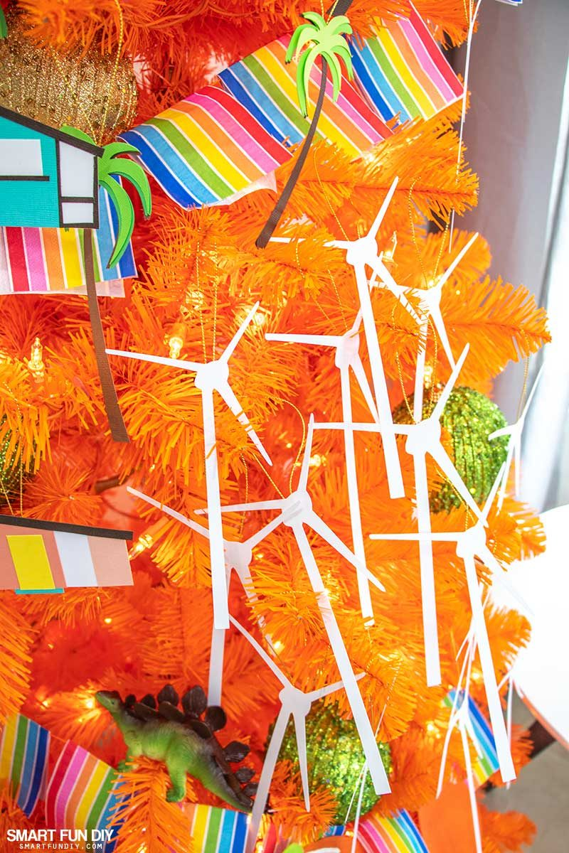 palm springs inspired christmas tree wind turbines decorations