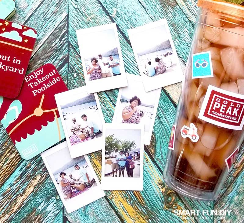 instant camera photos at lake and Gold Peak tea